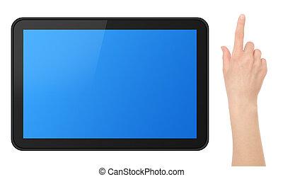interactief, aanraakscherm, tablet, met, hand