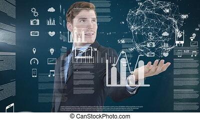 interactif, écran, animation, homme, caucasien, 3d, ...
