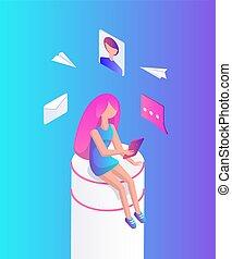 interactif, réalité, femme, vecteur, illustration