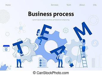 interaction, business, efficace, processus, équipe, bannière