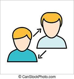 interaction, humain, icône