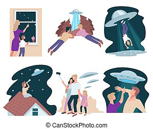 Interaction of ufo and people, abduction of flying saucer - ...