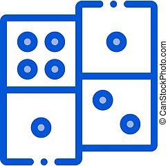 Interactive Kids Game Dominoes Vector Sign Icon