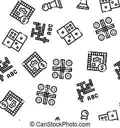 Interactive Kids Games Seamless Pattern . Domino, Chess And ...