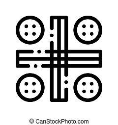 Interactive Kids Ludo Game Thin Line Icon. Traditional Board Game For Children And Adult, Playing Gaming Items Pieces Linear Pictogram. Joyful Things Monochrome Contour Illustration