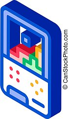 Interactive Kids Video Game isometric icon vector illustration