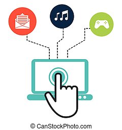 Interactive concept with technology icons design, vector illustration 10 eps graphic.