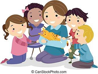 interaja, crianças, stickman, ilustração, gato