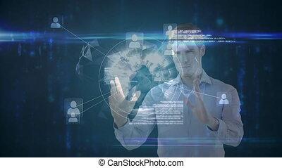interaktywny, ekran, ożywienie, człowiek, kaukaski, 3d, używając