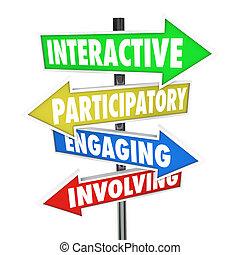 interativo, participatory, empregando, envolvendo, seta, sinais estrada