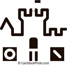 interattivo, castello, bambini, personaggio, segno, vettore, icona