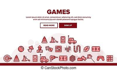 interattivo, giochi, icone, linea sottile, bambini, set, vettore