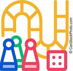 interattivo, gioco, magro, asse, vettore, linea, icona, bambini