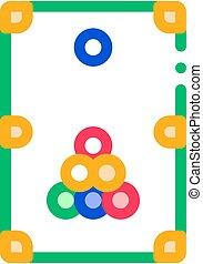 interattivo, gioco, magro, biliardo, vettore, linea, icona