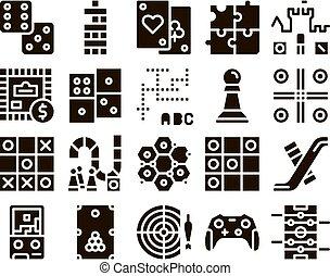 interattivo, set, giochi, icone, bambini, glyph, vettore