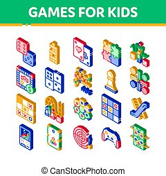 interattivo, vettore, bambini, set, giochi, icone, isometrico
