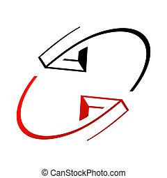 interazione, frecce, segno