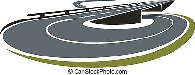 intercâmbio, junção, redondo, estrada, ícone
