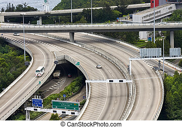 intercambio, aéreo, hongkong, complejo, carretera, vista