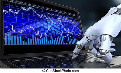 intercambio, comercio, robot