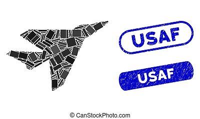 intercepter, collage, usaf, textured, dichtungen, rechteck
