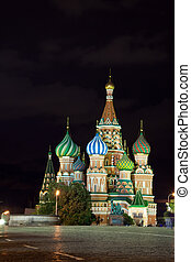 Intercession Cathedral at   in night. Moscow