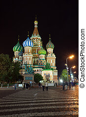 Intercession Cathedral   at  Moscow in night, Russia