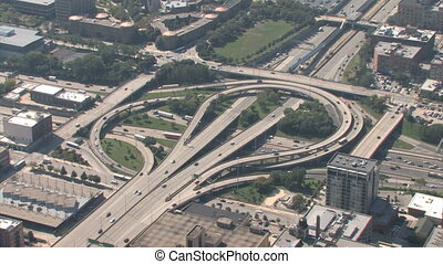 Interchange Aerial - Aerial view of highway interchange in...