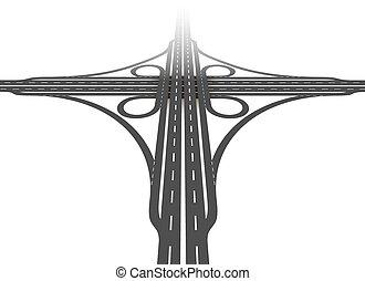 interchange, antenne, cloverleaf, udsigter