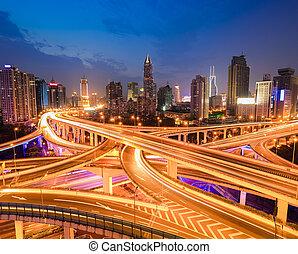 interchange overpass at night
