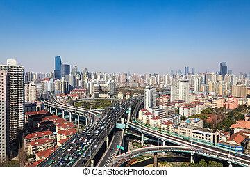 interchange overpass on traffic rush hour