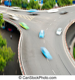 interchange, shanghai, antenne, stak, udsigter