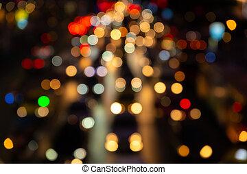 interchange., transport, footage., lights., confiture, large, brouillé, frein, traffic., trafic, rue., ville, nuit, flou, dense