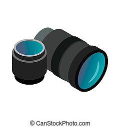Interchangeable lens digital camera icon in isometric 3d...