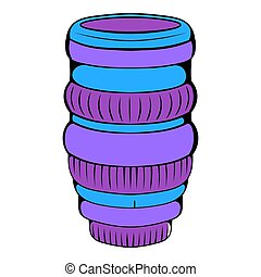 Interchangeable lens for camera icon cartoon -...