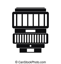 Interchangeable lens for camera icon in simple style on a...