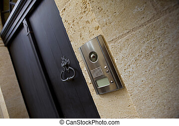 Intercom on the facade of an old house