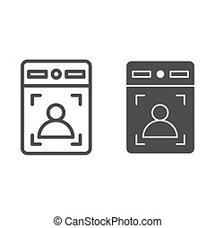 Intercom with guest line and solid icon, smart home symbol, person recognition vector sign on white background, House videophone icon in outline style for mobile concept, web design. Vector graphics.