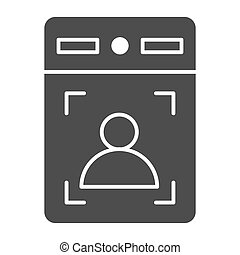Intercom with guest solid icon, smart home symbol, person recognition vector sign on white background, House videophone icon in glyph style for mobile concept, web design. Vector graphics.