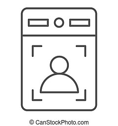 Intercom with guest thin line icon, smart home symbol, person recognition vector sign on white background, House videophone icon in outline style for mobile concept, web design. Vector graphics.