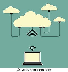 Vector illustration of several connected online cloud storage and a laptop.