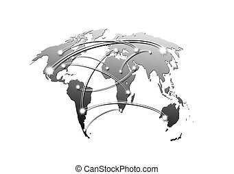 interconnected world map business and travel concept