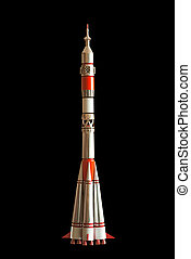 Intercontinetal ballistic missile Soyuz 7K-OK (11A511) lancher. Handmade souvenir. Isolated on black. Clipping path included.