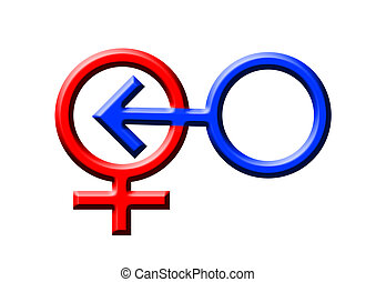 Intercourse - blue and red symbols of a man and a woman