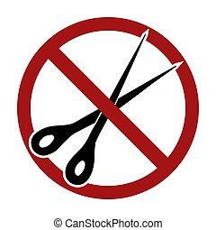 interdiction, ciseaux, silhouette, signe., noir, objet, cutting., vecteur, prohibition