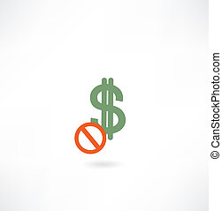 interdiction, icône, signe dollar