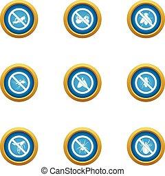 Interdiction icons set, flat style - Interdiction icons set....