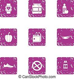 Interdiction icons set, grunge style - Interdiction icons...