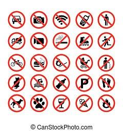 interdiction, symboles, ensemble, interdit, icônes