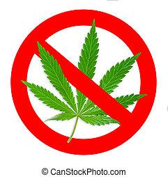 interdit, leafl, signe, marijuana